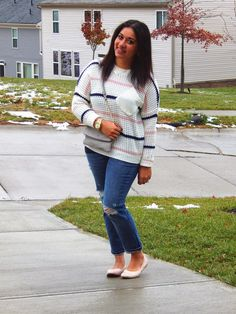 Chunky Sweater & Ripped Jeans