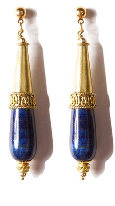 by rox jewelry  Lapis Lazui and Bali Brass Earrings