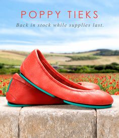 Limited edition Poppy is available in the Boutiek through the end of poppy season, while supplies last. | Tieks Ballet Flats