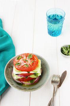 Stacked Greek Salad - recipe at cali-zona.com