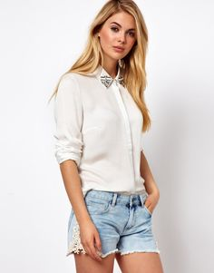 Long Sleeve Shirt With Gem Embellished Collar