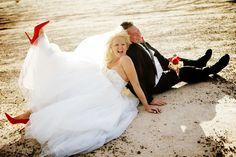 red heels Las Vegas wedding desert