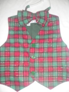 Boy's Christmas Vest and Bowtie  Size 3T by anncraftcorner on Etsy, $15.00