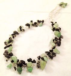 Beaded WireBraided Necklace w/ stone chips by DesignsByGray