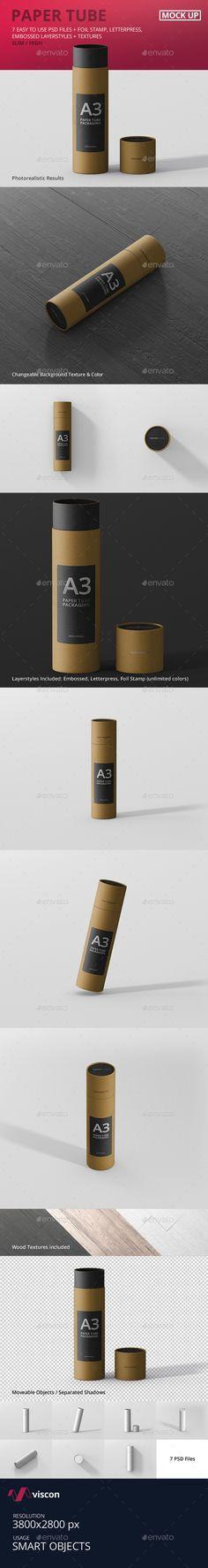 Paper Tube Packaging Mockup - Slim High