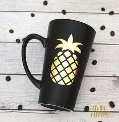 Pineapple // Matte Black Coffee Mug by GivingGlitterCo on Etsy