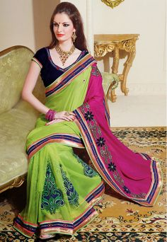 Trendy Green and Magenta Net with Silk Party Wear Saree - IG331378USD $ 76.76