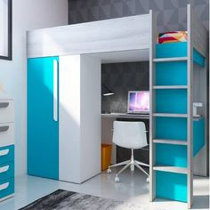 Violet Anne European Single High Sleeper Bed with Desk Harriet Bee Bed Frame Colour: Caribbean - Caribbean High Sleeper With Desk, High Sleeper Bed, Bunk Bed With Desk, Bunk Beds With Stairs, Bed With Drawers, Desk Bed, Large Drawers, Bed For Girls Room, Small Room Bedroom