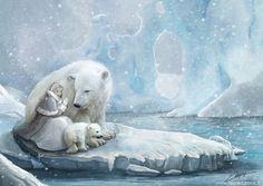 polar bears pulling sleigh   Polar bears family by laura-csajagi