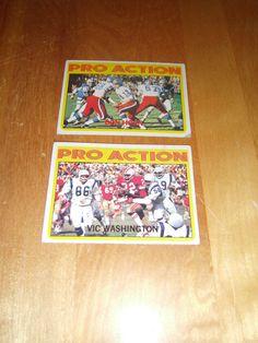 Pro Action 1972 Topps Football #255 Vic Washington  and  #256 Don Horn
