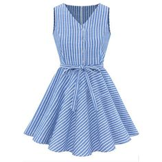 Light Blue Stripe V Neck Button Up Casual Dress (€24) ❤ liked on Polyvore featuring dresses, vestidos, short dresses, robe, sleeveless dress, blue sleeveless dress, stripe dress, light blue short dress and mini dress