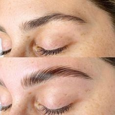 Eyebrow Lamination: The 2020 Alternative to Microblading - Full Service - Modern Salon Eyebrow Lift, Eyebrow Makeup Tips, Beauty Makeup, Eyebrows Goals, Straight Eyebrows, Eyebrow Trends, Eyelash Lift, Eyelash Perm, Pretty Brown Eyes