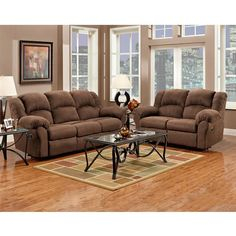 Flash Furniture Exceptional Designs by Flash Reclining Living Room Set in Aruba Chocolate Microfiber Couch And Loveseat Set, Loveseat Sofa, Sofa Set, Couches, Sectional Sofas, Living Room Sofa, Living Room Furniture, Apartment Furniture, Apartment Ideas