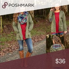 Olive & Plaid Utility Jacket Olive & Plaid Utility Jacket - this olive utility jacket has the perfect plaid accents and a drawstring waist, making it the perfect fall #ootd Jackets & Coats Utility Jackets