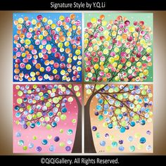 """Original Abstract painting Four Seasons tree acrylic Large Square Modern art """"365 Days of Happiness (square version)"""" by qiqigallery"""