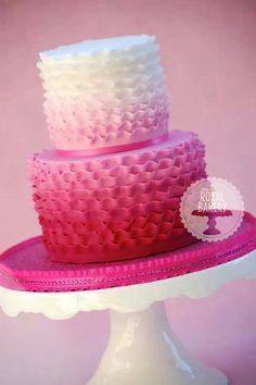 Blue Birthday Cake With Ruffles