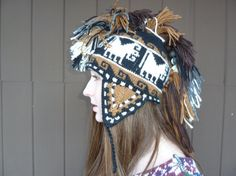 Hand knit mohawk hat - on Etsy