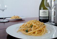 Spaghetti with lemon and caper