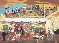Kitagawa Utamaro, a great famous artist in the beginning of 1800's, drew a big picture of Yoshiwara where is the biggest red-light area in Tochigi prefecture. We can see the back ground of this period from this picture.
