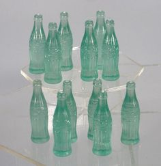 1950s 12 Toy Coca Cola Bottles Old Store Stock Orig Real Coke Glass Miniatures