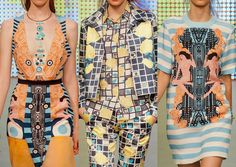 Holly Fulton S/S 2013-Bold Deco graphic styling  - Grids, dots and geometric mixes – Historic Hollywood references – Digital deco pattern work – Summer stripes