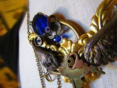 My Steampunk angelic necklace. With hand sculpted wings.