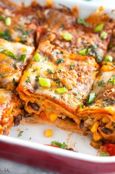Vegetarian Black Bean Enchilada Casserole Recipe - Simple ingredients with brill. - Vegetarian Black Bean Enchilada Casserole Recipe – Simple ingredients with brilliant flavor and a - Veggie Dishes, Veggie Recipes, Mexican Food Recipes, Cooking Recipes, Healthy Recipes, Healthy Food, Corn Dishes, Dinner Healthy, Free Recipes