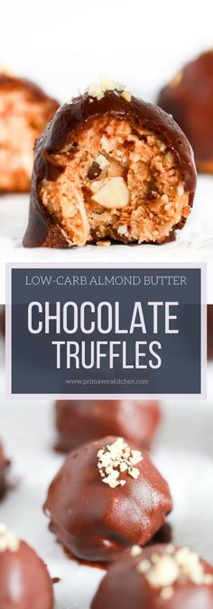 Low carb Almond Butter Chocolate Truffles - Whip up this easy Low-carb Almond Butter Chocolate Truffles filled with a creamy center shredded coconut chocolate chips and sliced almonds. Its also gluten/egg/dairy-free! Low Carb Sweets, Low Carb Desserts, Healthy Dessert Recipes, Gluten Free Desserts, Healthy Desserts, Delicious Desserts, Keto Recipes, Paleo Treats, Keto Foods
