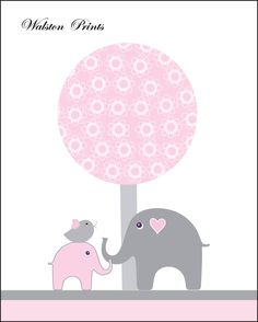 Pink gray nursery art, elephant kids wall art, art for babys room, pictures for… Elephant Nursery Art, Nursery Wall Art, Nursery Decor, Nursery Murals, Elephant Theme, Pink And Gray Nursery, Image Deco, Baby Posters, Elephant Pattern