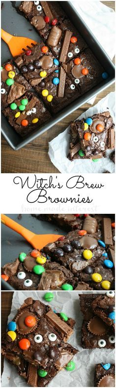 These Witches Brew Brownies are ooey, gooey, chocolate brownies that make an easy halloween recipe for using up all of that leftover Halloween candy. This deliciously creepy Halloween dessert recipe makes awesome Halloween party food too! Halloween Party Snacks, Dulces Halloween, Postres Halloween, Dessert Halloween, Hallowen Food, Halloween Baking, Halloween Goodies, Snacks Für Party, Halloween Candy
