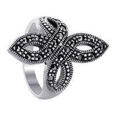 Gorgeous Sterling Silver 1.5mm Marcasite Symmetrical Design 2.5mm Band Ring Only $28.99!