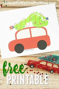 Footprint Christmas Tree on Car - Free Printable Need a gift idea from the kids? Check out our Footprint Christmas Tree on Car - Keepsake Printable that is inspired by a current holiday trend! Christmas Crafts For Toddlers, Preschool Christmas, Christmas Activities, Baby Crafts, Christmas Themes, Kids Christmas, Holiday Crafts, Holiday Fun, Christmas Gifts