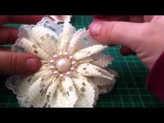Shabby chic vintage lace fabric flowers - YouTube