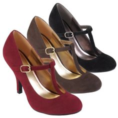 Dress up any outfit with this pair of classic T-strap high-heeled pumps. These attractive shoes feature rounded toes and faux-suede and are available in several colors, so you choose just the right ones to match your evening or office wear.