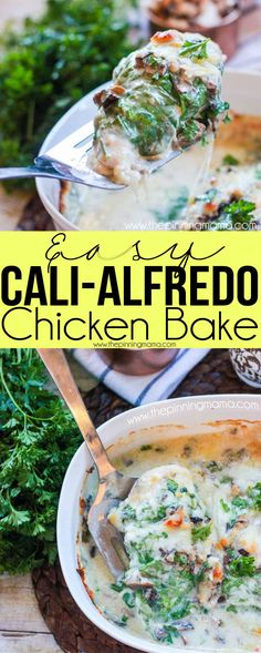 This is the BEST baked chicken dinner recipe I have made!! Chicken breast baked with spinach, mushrooms, bacon, alfredo and cheese on top. It literally tastes like something you order at a restaurant!