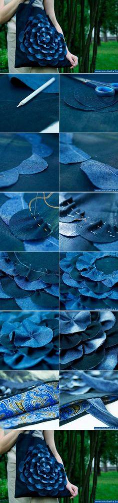 DIY Big Floral Tote from Old Jeans | www.FabArtDIY.com LIKE Us on Facebook ==> https://www.facebook.com/FabArtDIY