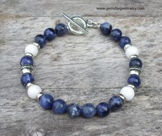 Blue Sodalite and White Jade Mens Beaded Bracelet by GemsForGents
