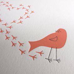 Bird Letter Press Card