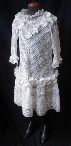 Maria Niforos - Fine Antique Lace, Linens & Textiles : Antique Christening Gowns & Children's Items # CI-77 Exquisite Child's Dress w/ Whitework & Valencienne Lace