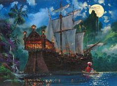 """Hook's Cove"" by James Coleman - Original Artwork, stunning.makes my heart melt Disney Pixar, Disney Films, Disney And Dreamworks, Disney Mural, Disney Love, Disney Magic, Peter Pan Art, Kinkade Paintings, Thomas Kinkade Disney"