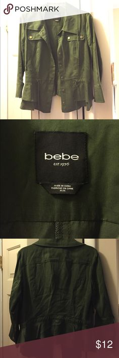 Bebe army green jacket Army green Bebe brand light weight jacket. Great for fall! bebe Jackets & Coats Capes