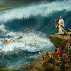 Egyptians Drown in Red Sea Bible Pictures, Jesus Pictures, Lds Art, Bible Art, Croix Christ, La Sainte Bible, Christian Artwork, Bible Illustrations, Jesus Painting