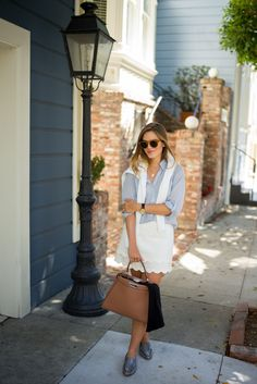 """Complete look includes my kate spade new york Carima flats, J.Crew monogramed sweater, Michael Kors watch, Illesteva sunglasses, Packed Party """"Doorstep"""" necklace, and Fendi bag"""