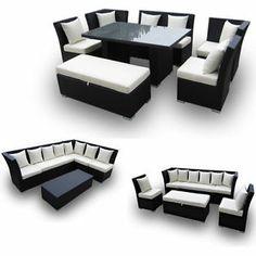 Outdoor Wicker Patio Furniture Jamaican Sec Dining Sofa Set Black Wicker | eBay