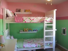 Bedroom, : Interesting Half Green And Pink Wall Painting For Girl And Boy Shared Bedroom Decorating Ideas With White Wooden Twin Bunk Beds And Straight Ladder Also Wall Mounted Small Multipurpose Racks