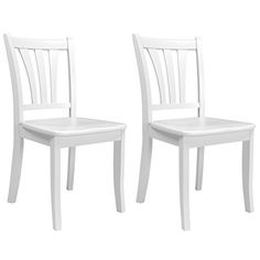 CorLiving DSH-310-C Dillon White Solid Wood Dining Chairs with Curved Vertical Slat Design, Set of 2