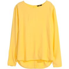 H&M Long-sleeved blouse ($8.70) ❤ liked on Polyvore featuring tops, blouses, shirts, long sleeve shirt, yellow, woven shirt, rayon shirts, shirt blouse, long sleeve woven shirt and long sleeve tops