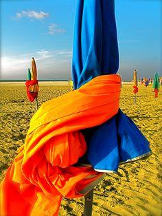 Sur la plage de Deauville, France, Basse-Normandie