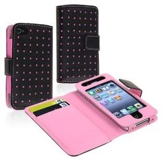 $3.51 eForCity Wallet Leather Case compatible with IPhone  4 / 4S, Black / Pink