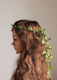 Green Leaves Crown Cascade Bridal Halo Woodland by HandyCraftTS